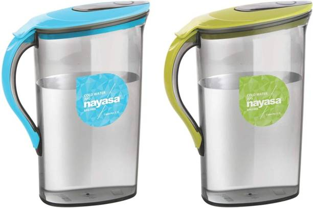 NAYASA 2100 L Water Superplast Plastic Icon Jug 2.1 Litre, - Assorted ( Set of 2 ) Jug
