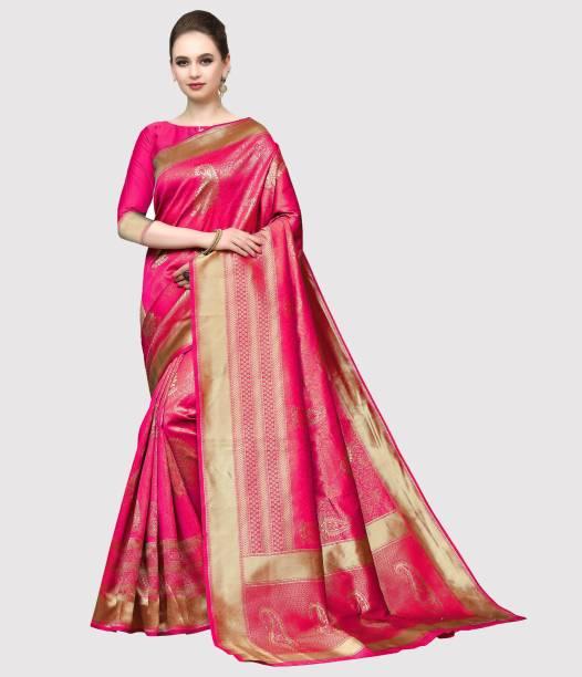 Sanku Fashion Woven Kanjivaram Silk Blend, Jacquard Saree