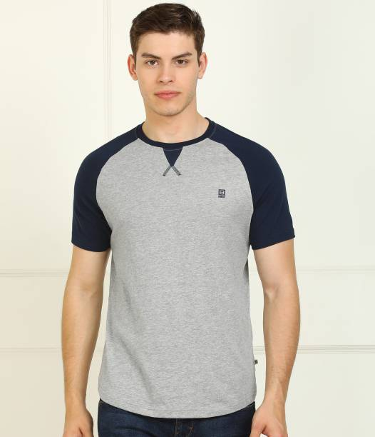 Billion Color Block Men Round Neck Dark Blue, Grey T-Shirt