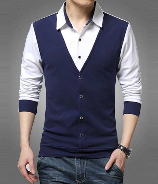 Seven Rocks Solid Men Polo Neck Dark Blue, White T-Shirt