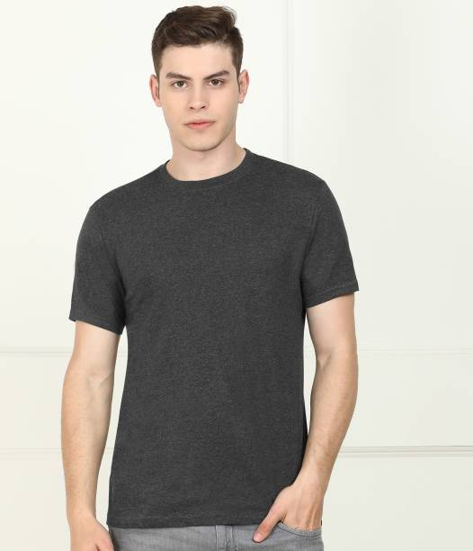 Billion Solid Men Round Neck Grey T-Shirt