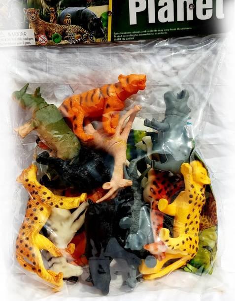 saiyam momento Set of 12 Zoo Wild Animals Figures Toys for Kids , Animal Toy Set Play for Kids