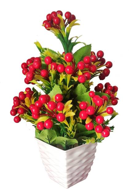 BK Mart Beautiful Red Cherry Flower Basket For home Shop Office Decor Multicolor Cherry Artificial Flower  with Pot