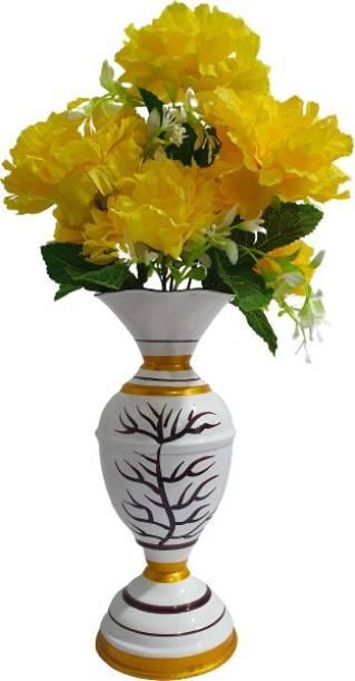 BS AMOR Artificial Flower Pot | Flower vase for Home Decoration | Flower Pot for Artificial Flowers Shining Wooden Vase for Artificial Flower White, Yellow Dahalia Artificial Flower  with Pot