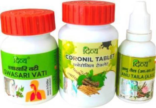 PATANJALI Coronil Kit(Coronil Tablet + Swasari Vati + Anu Tail) with Cotton Mask 2