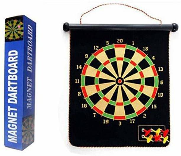 Smartcraft Magnetic Reversible Dart Board Two-Sides with 4 Dart Board Game Steel Tip Dart