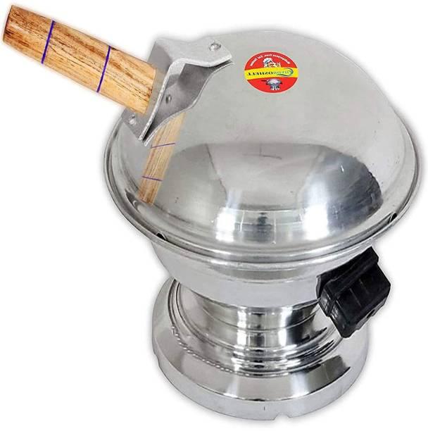 Hydroshell Tandoor Bati Maker Baking Oven, 25 x 25 x 35 cm, 1 Piece, Silver Gas Tandoor, Barbecue Grill Food Steamer Cookware Set Pizza Maker