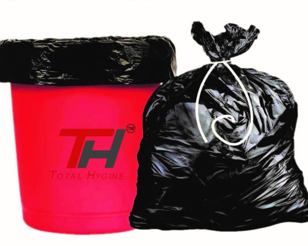 Total Hygiene Oxo-Biodegradable BLACK Garbage Bags/Trash Bags/Dustbin Bags (free 1 Pcs Floor Duster) Small 12 L Garbage Bag