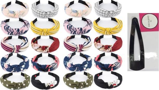 CartKing Knot Turban Hair Band/Headband Attractive Design of Fabric - PACK OF 20 + 1 Hair Clip Hair Band