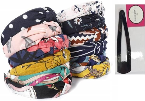 CartKing Knot Turban Hair Band/Headband Attractive Design of Fabric - PACK OF 12 + 1 Hair Clip Hair Band