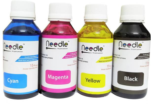 Needle Cartridge Refill Ink Compatible for HP Cartridge No. 678, 802, 901, 818, 21, 22, 27, 46, 56, 57, 680, 703, 704, 803, 818, 900 Printer (100 ml *4) Black + Tri Color Combo Pack Ink Bottle