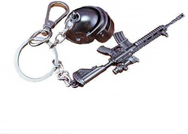 Skyrich The Purple Tree Alloy Silver PUBG Keychain with M416 and Level 3 Helmet Key Chain