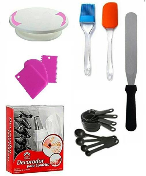 DEVICE OF XACTON cakecombo4 Cake Making Supplies Cake Turntable & Nozzle Set & Spatula, Brush & Measuring Cup & Spoon and Pallet Knife & 3 pc scrapper Multicolor Kitchen Tool Set