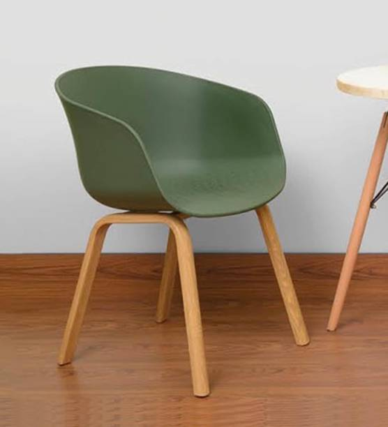 Finch Fox Delta Nordic Plastic Solid Wood Coffee Dining Chair in Green Colour Plastic Living Room Chair
