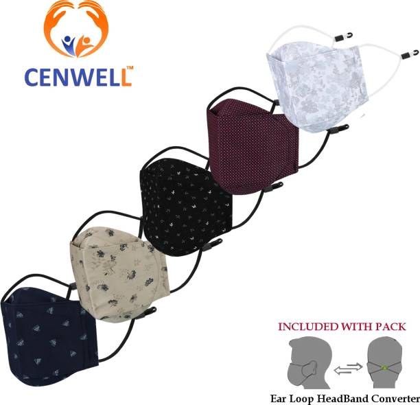 CENWELL Unisex 100% Cotton Protective Fashionable Mask for Men , Women ,Kids with Adjustable ear loop and Headband converter , N95 Designer Printed 3d Mask Reusable, Washable Cloth Mask With Melt Blown Fabric Layer