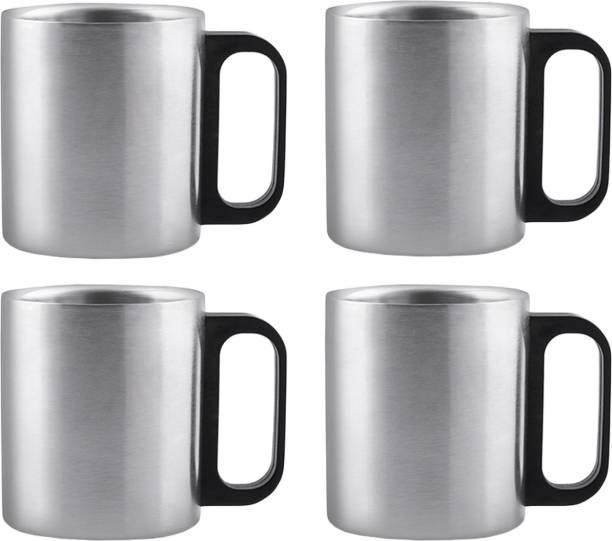 Flipkart SmartBuy Steel Pack of 4 Plastic, Stainless Steel Coffee Mug