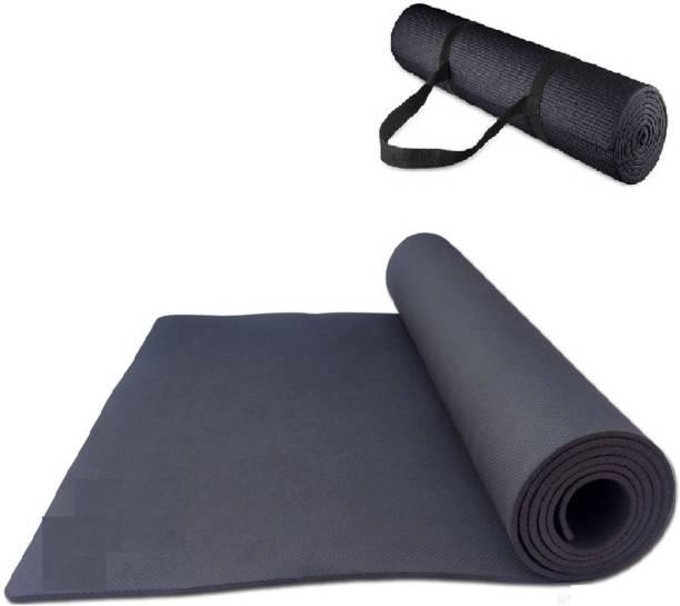 effingo YOGA MAT With Strap Non-Skid MAT Premium Quality With Comfort (Black 4MM) Black 4MM mm Yoga Mat