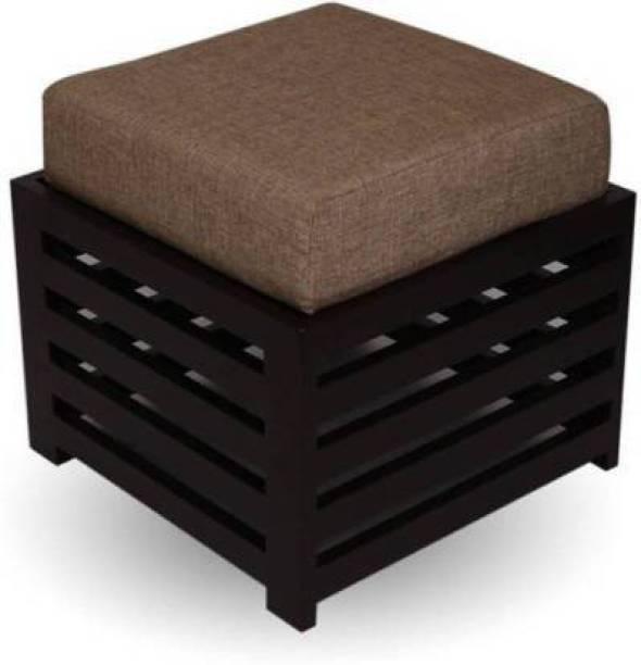 ANB Enterprises Wooden Stool For living room with cushion Living & Bedroom Stool (Black) Living & Bedroom Stool