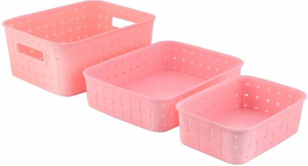 xenith Multipurpose Premium Baskets Set for Storing or Organising, Which Can Be Used As Fridge Basket   Kitchen Baskets   Fruits Basket   Cosmetics Basket   Almirah Basket, (Set of 3, Pink) Storage Basket