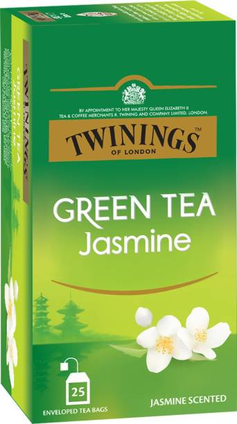 TWININGS Green Tea Jasmine, Pure Elegance, Smooth and Floral Jasmine Green Tea Bags Box