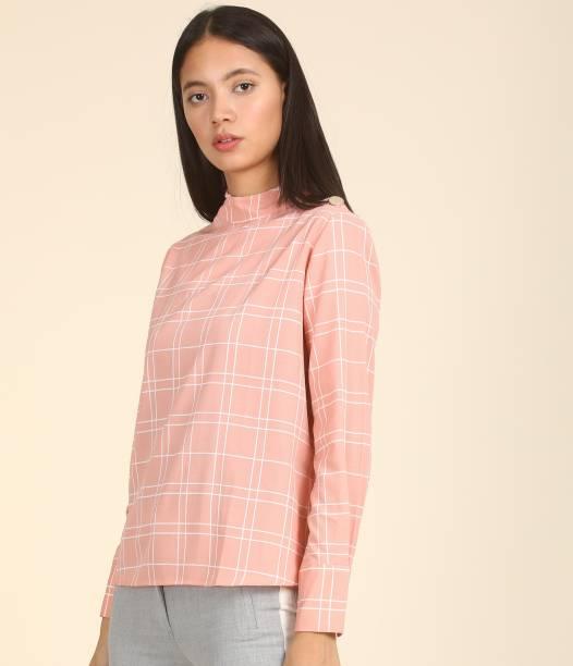 Tokyo Talkies Casual Regular Sleeve Checkered Women Pink Top