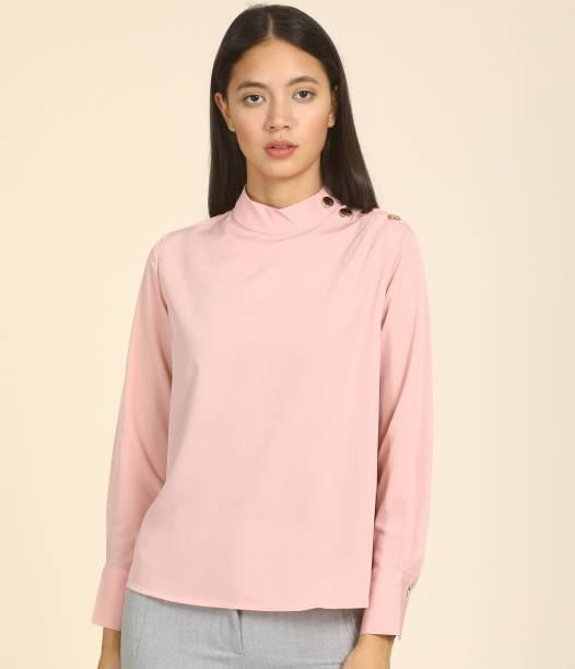 Tokyo Talkies Casual Cuffed Sleeve Solid Women Pink Top