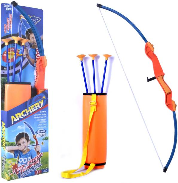 Planet of Toys Super Archery Bow And Arrow Set For Kids With 3 Suction Cup Tip Arrows Archery Kit