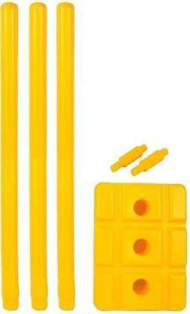 Simran Sports Good Quality Plastic Stumps - 3 Wickets + 2 Bails + Stand (Yellow)