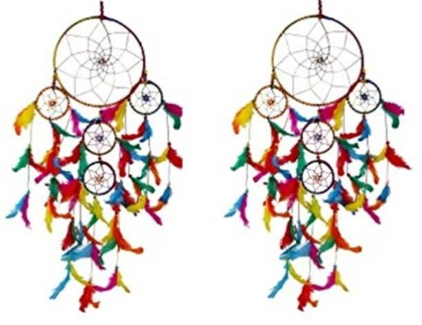 Handcraftsvilla Dream Catcher Wall Hanging Wool 5 Rings Multicolor ( Pack of 2) Wool, Feather Dream Catcher