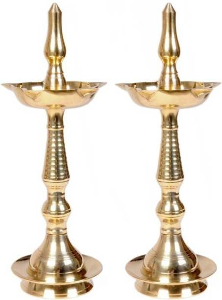 VISHNU KERLA FANCY Brass (Pack of 2) Table Diya Set