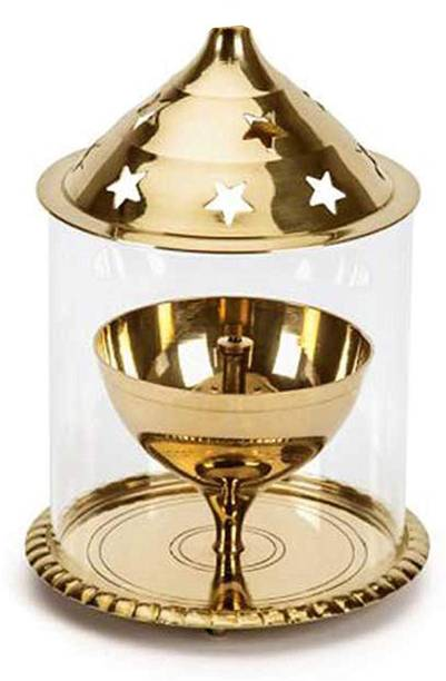 Style My Way Brass Akhand Diya with Glass Cover - 4inches | Jyoti Diya | Oil Puja Lamp | Udupi Jyot Brass Table Diya