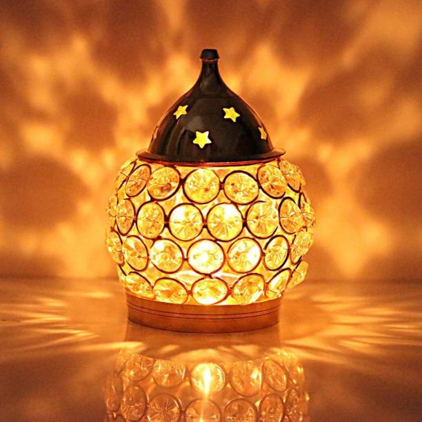 SAARTHI Brass Akhand Diya | Diamond Crystal Deepak/Dia | Akhand Jyot | Magical Lantern Brass Diya | Decorative Brass Crystal Oil Lamp | Tea Light Holder Lantern | Puja Lamp Brass Table Diya