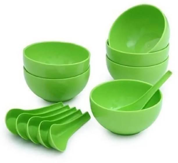 Isha services Plastic Round Shape Soup Bowls Set 6 Bowl and 6 Spoon Plastic Disposable Soup Bowl