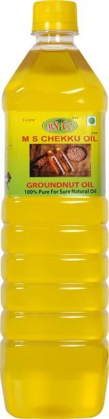 m s chekku oil Cold Press Groundnut/ Peanut oil (Pure, Chekku/Ghani) - 1L Groundnut Oil Plastic Bottle