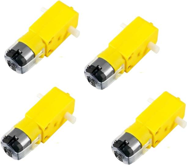 Sai Savera PACK OF 4 Electric Motor 3V-6V Single Shaft Geared TT Magnetic Gearbox Engine for Robot Toys Cars Chassis Models Vibration Products Electronic Components Electronic Hobby Kit