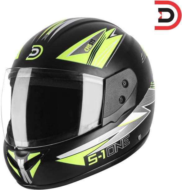 Denim FLUOROSCENT YELLOW MATTE PRINT FULL FACE ISI MARK MOTORBIKE HELMET Motorbike Helmet