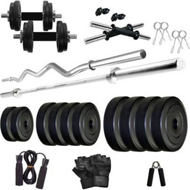 ISG 24 kg 24KG Home Gym With Straight & Curl Rod Home Gym Combo