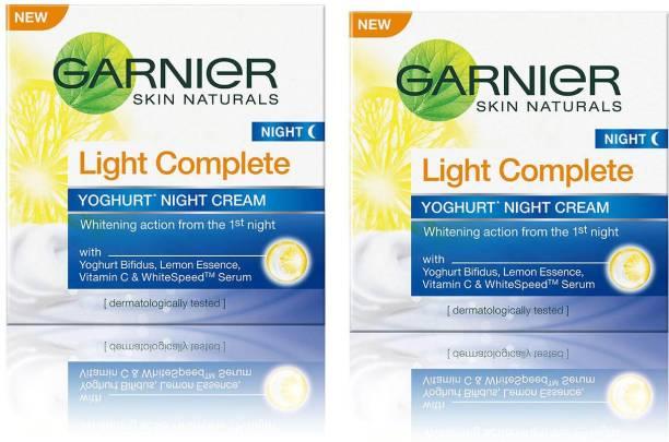 GARNIER Skin Naturals Light Complete Yoghurt Night Cream, 40g Pack of 2