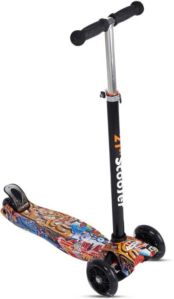 NHR Colorful Graffiti Foldable Scooty, 4 Wheel Scooter for Kids, Babies