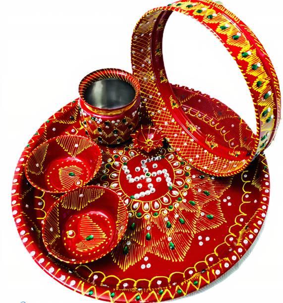 "Dhandevi textiles Stainless Steel Karwa Chauth 6 Pieces Decorative Pooja Thali Set (Red) (Thali Size 11"") Steel"