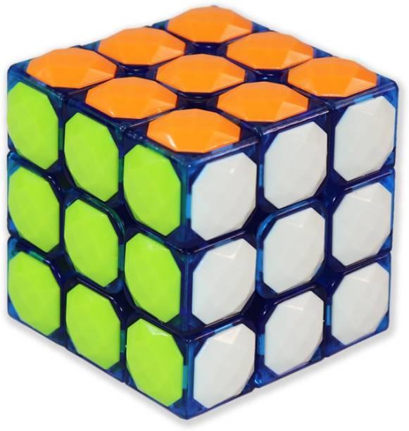 Tector 3x3X3 Diamond Studded Stickerless Magic Rubic Cube - Multicolor