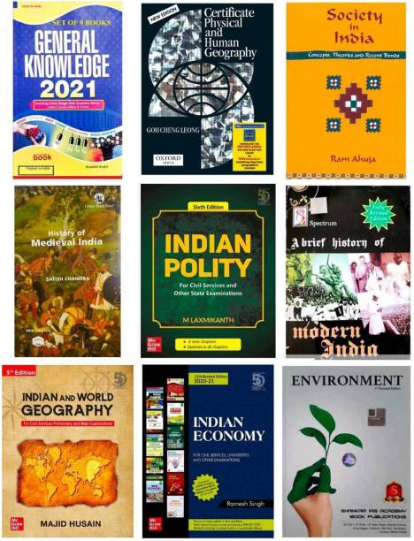 9 BOOKS SETS IN INDIA,BEST IAS/UPSC COMBO INDIAN POLITY BY M LAXMIKANTH, CERTIFICATE PHYSICAL AND HUMAN GEOGRAPHY , ENVIRONMENT,G K 2021,SOCIETY IN INDIA BY RAM AHUJA , HISTORY OF MODERN INDIA, INDIAN ECONOMY BY RAMESH SINGH ,INDIAN AND WORLD GEOGRAPHY,HISTORY OF MEDEIVAL INDIA (Best Book COMBO For IAS,IPS,IFS,UPSC,PSC,Civil Services,UGC-Net And All Indian Govt Exam) (Papar Back,COMBO,ENGLISH) (Paperback, RAMESH SINGH, M.LAXMIKANTH,RAM AHUJA ,GUIDER G K IN ENGLIS M R P 30 BOOKS IN BOOKS )POL+ECO,TMH,SPECTRUM,ORIENT,MC GRAW HILL,ARIHANT ,GUIDER,SATISH ENGLIS ,G C ,
