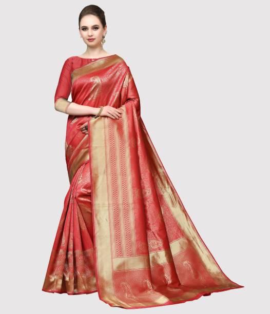 Sanku Fashion Self Design, Woven, Embellished Kanjivaram Silk Blend, Poly Silk Saree