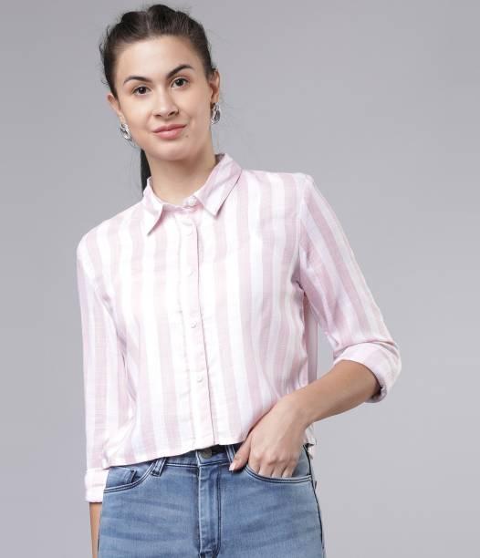 Tokyo Talkies Women Striped Casual Pink Shirt