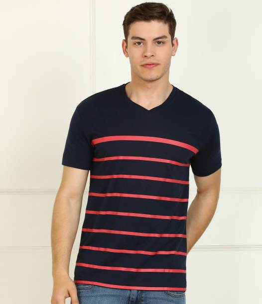 Billion Striped Men V Neck Dark Blue, Red T-Shirt