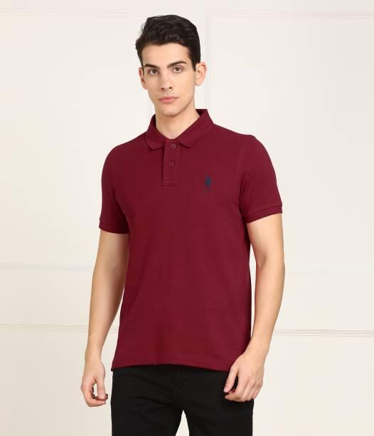 U.S. POLO ASSN. Solid Men Polo Neck Maroon T-Shirt