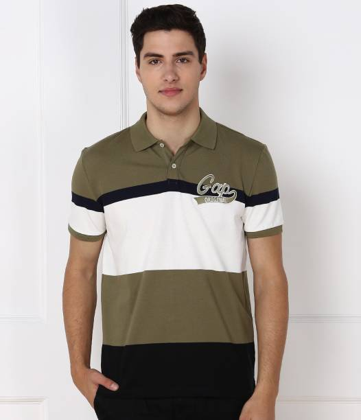 GAP Striped Men Polo Neck Multicolor T-Shirt