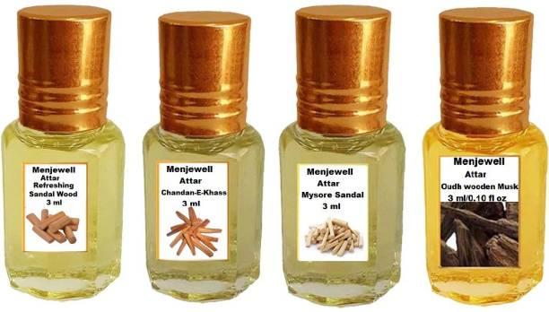 Menjewell Fragrances Pack of 4Pc Attar (Refreshing SandalWood 3ml,Chandan-E-Khas 3ml,Mysore sandal 3ml,OudhWood 3ml )Natural Itra/Attar/ Perfume Floral Attar