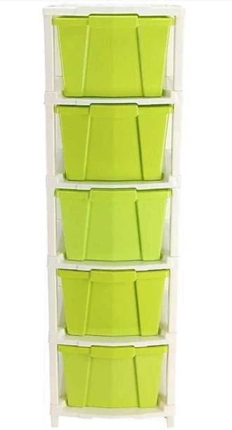 HUMBLE KART Plastic Free Standing Chest of Drawers (Finish Color - GREEN) Plastic Free Standing Chest of Drawers
