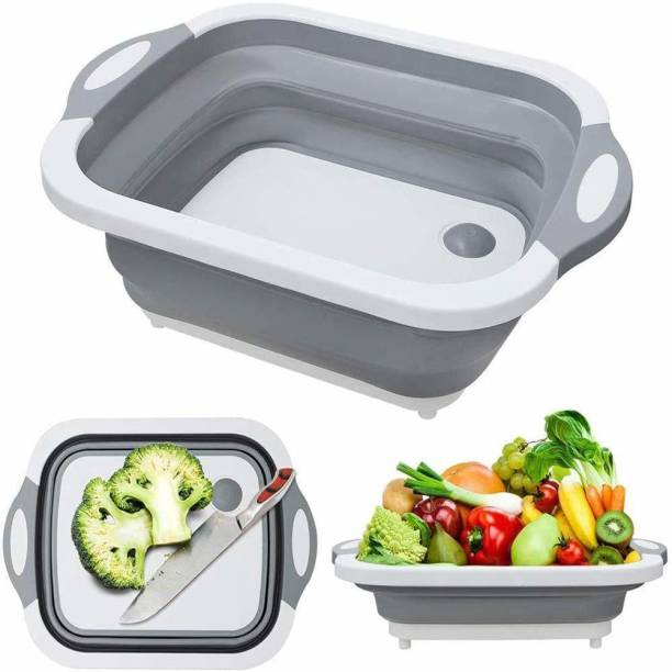 Gantavya New Collection Cutting Board Dish Tub, Multifunction Foldable Dish Tub, Folding Cutting Board Vegetable Washing Basket Plastic Fruit & Vegetable Basket